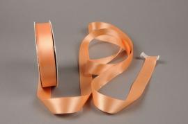 A422UN Satin ribbon peach 25mm x 50m