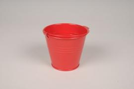 A423KM Cache-pot en zinc rouge D9cm H8cm