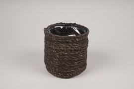 A424DQ Brown weaved planter pot D15cm H14cm