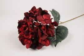 a429nn Hortensia artificiel rouge H70cm