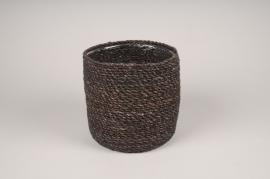 A431DQ Brown weaved planter pot D17cm H16cm