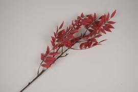 a433nn Branche de fougère artificielle rouge H86cm