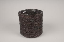 A434DQ Brown weaved planter pot D18cm H18cm