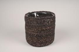 A435DQ Brown weaved planter pot D20cm H20cm