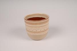 A458DQ Cache-pot en céramique beige D12cm H11cm