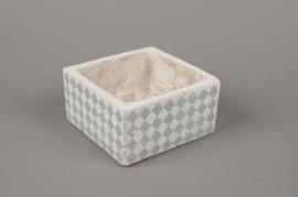 A463HX Cache-pot en terre cuite blanc 15cm x 15cm H8cm
