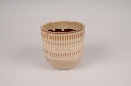 A473DQ Cache-pot en céramique beige D13.5cm H13cm