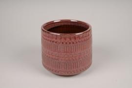A478DQ Cache-pot en céramique rose D17cm H15cm