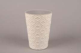 A489HX Ceramic planter pot with patterns D13.5cm H19cm