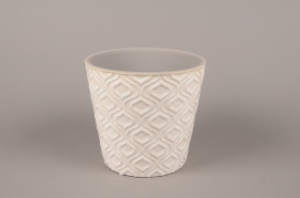 A490HX Ceramic planter pot with patterns D17cm H16cm