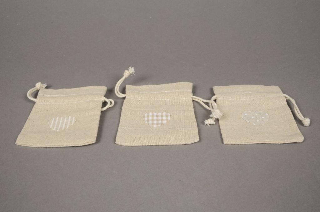 A493UN Paquet de 8 sacs en coton naturel L9cm H11.5cm