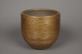 A495QB Cache-pot en céramique or D23cm H22.5cm