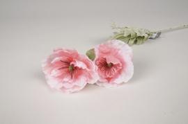 a497nn Coquelicot artificiel rose H65cm