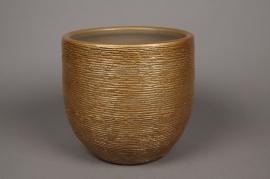 A497QB Cache-pot en céramique or D19cm H19.5cm