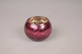 A510LE Vase boule en verre rose violet D9cm H7.5cm