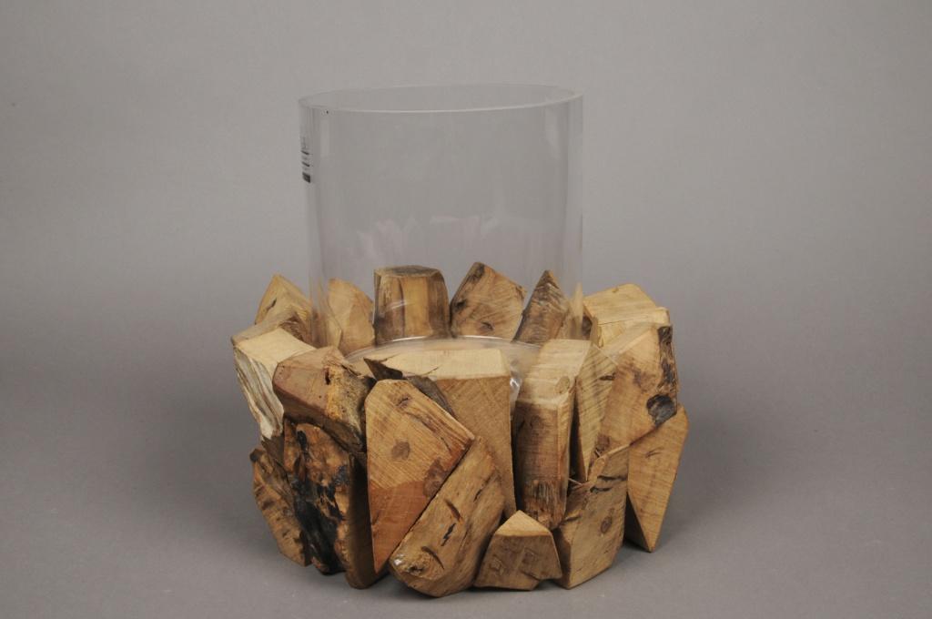 A512UO Photophore en verre avec support en bois D30cm H29cm