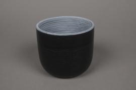 A520QB Cache-pot en céramique noir D14cm H12cm