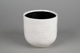 A523HX Cache-pot en céramique blanc D15cm H14cm