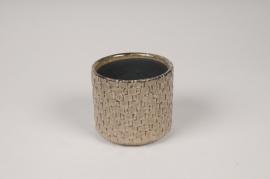 A527HX Cache-pot en céramique brun D8cm H7cm