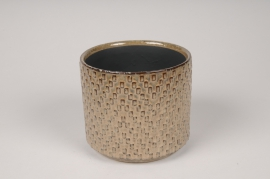 A529HX Brown ceramic planter D12cm H11cm