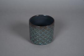 A530HX Cache-pot en céramique bleu D13cm H12cm