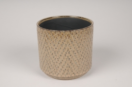 A531HX Brown ceramic planter D14cm H13cm