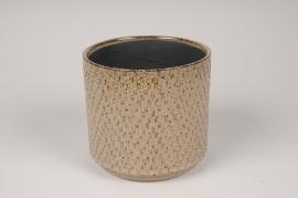 A531HX Cache-pot en céramique brun D14cm H13cm