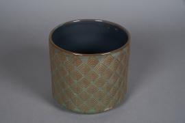 A533HX Cache-pot en céramique bleu D17cm H15cm