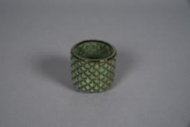 A536HX Cache-pot en céramique vert D8cm H8cm