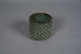 A537HX Cache-pot en céramique vert D11cm H11cm
