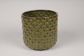 A539HX Green ceramic planter pot D18cm H17cm