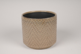 A540HX Brown ceramic planter D17cm H15cm