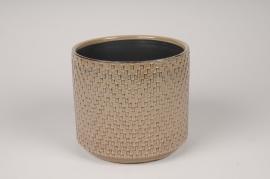 A540HX Cache-pot en céramique brun D17cm H15cm