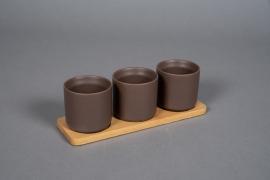 A542HX Brown ceramic planter trio on a bamboo tray