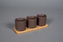A542HX Brown ceramic planter trio on a bamboo tray