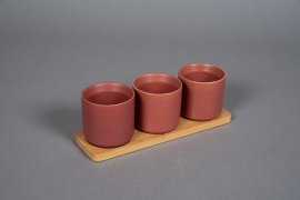 A543HX Red brick ceramic planter trio on a bamboo tray