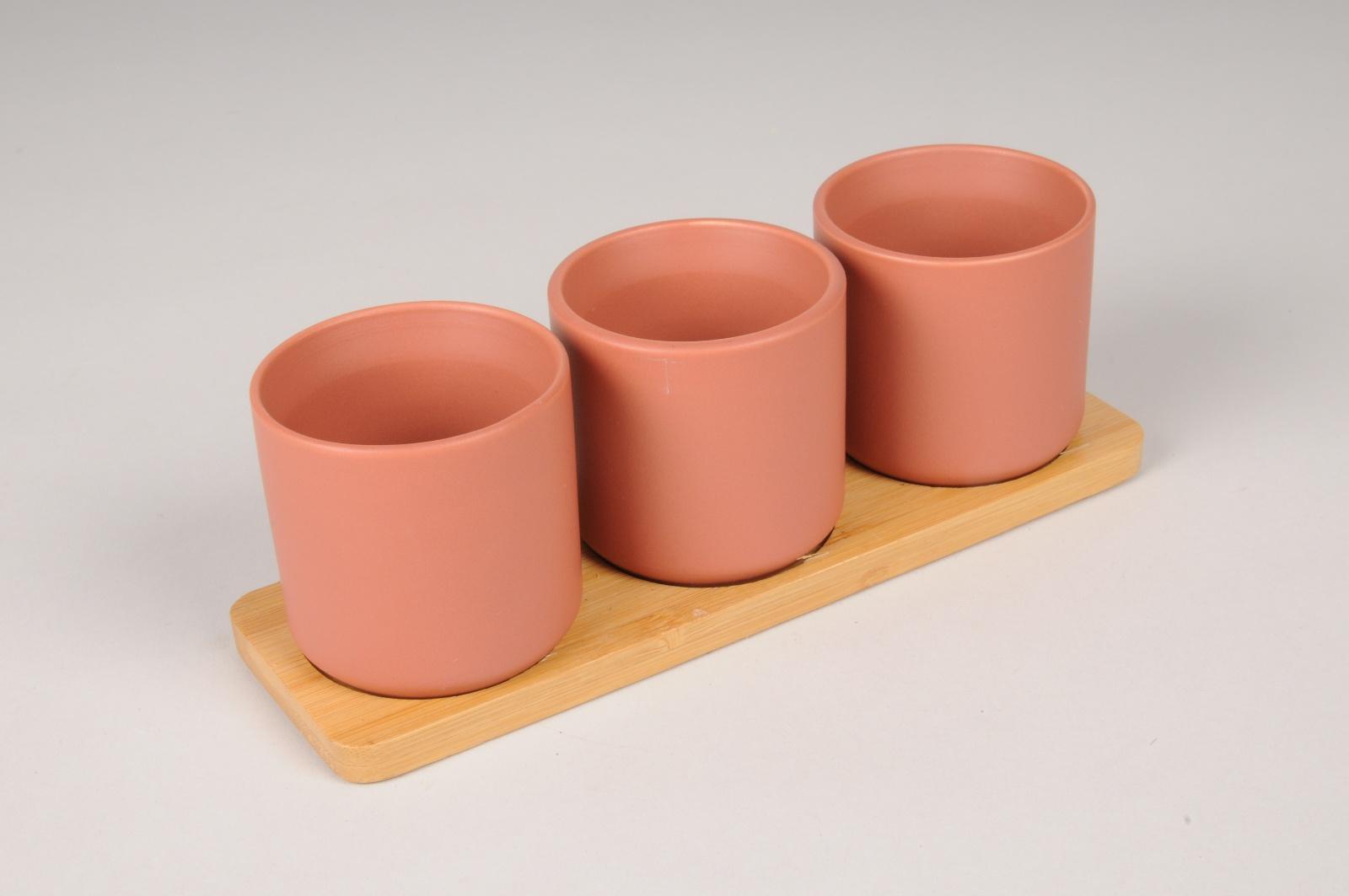 A544HX Trio de cache-pots en céramique terre de sienne