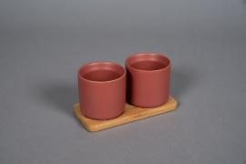 A545HX Duo de cache-pot en céramique rouge brique