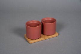 A545HX Red brick ceramic planter duo on a bamboo tray
