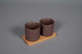 A547HX Brown ceramic planter duo on a bamboo tray