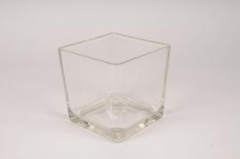 A548QB Vase en verre cube 14x14cm H14cm