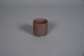 A553HX Brown ceramic planter D8cm H7cm