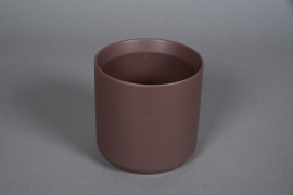A558HX Brown ceramic planter D13cm H13cm