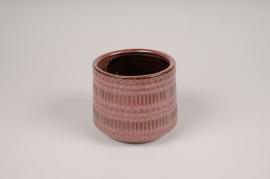 A563DQ Pink ceramic planter pot D13cm H11cm