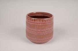 A564DQ Pink ceramic planter pot D14cm H13cm
