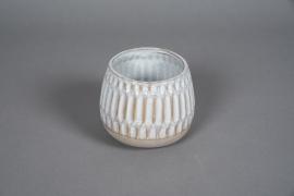 A569HX Cache-pot en céramique blanc D13cm H12cm