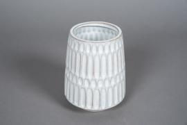 A571HX White ceramic vase D13cm H17cm