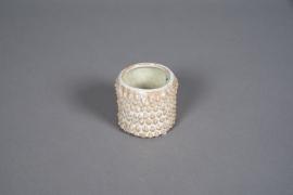 A572HX Cache-pot organique en céramique blanc D7cm H7cm