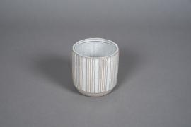 A573HX White striped ceramic planter D10cm H10cm