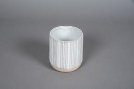 A574HX White striped ceramic planter D12cm H13cm